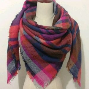 Multicolored Plaid Triangular Blanket Scarf